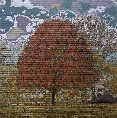 Corinne McAuley, beaded tapestry, peyote stitch, Fall Fire