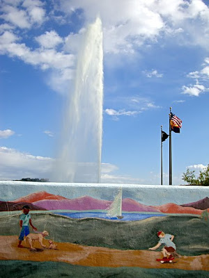 Fountain Hills, AZ, fountain and painted wall