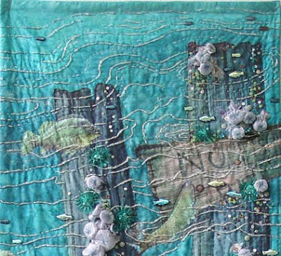 art quilt by Thom Atkins, Global Warming, top detail