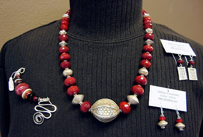 bead jewelry by Robin Atkins, featuring man-made ruby beads