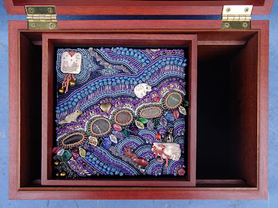 bead embroidery by Robin Atkins in wooden box by Maurice Sewelson