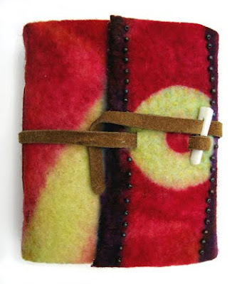 Robin Atkins, hand-mand book, wrap style with felt cover
