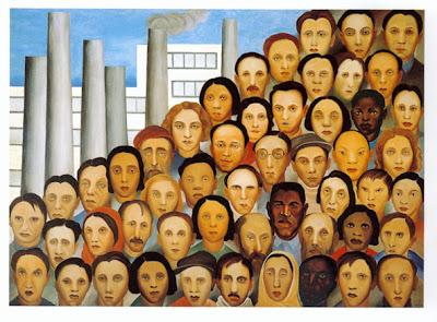 foto de várias cabeças de operários com uma fábrica ao fundo
