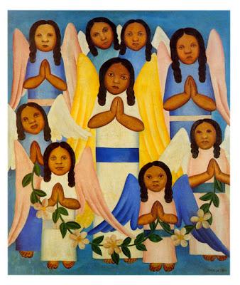 quadro com varias crianças vestidas de anjo com as mãos juntas como se estivessem orando