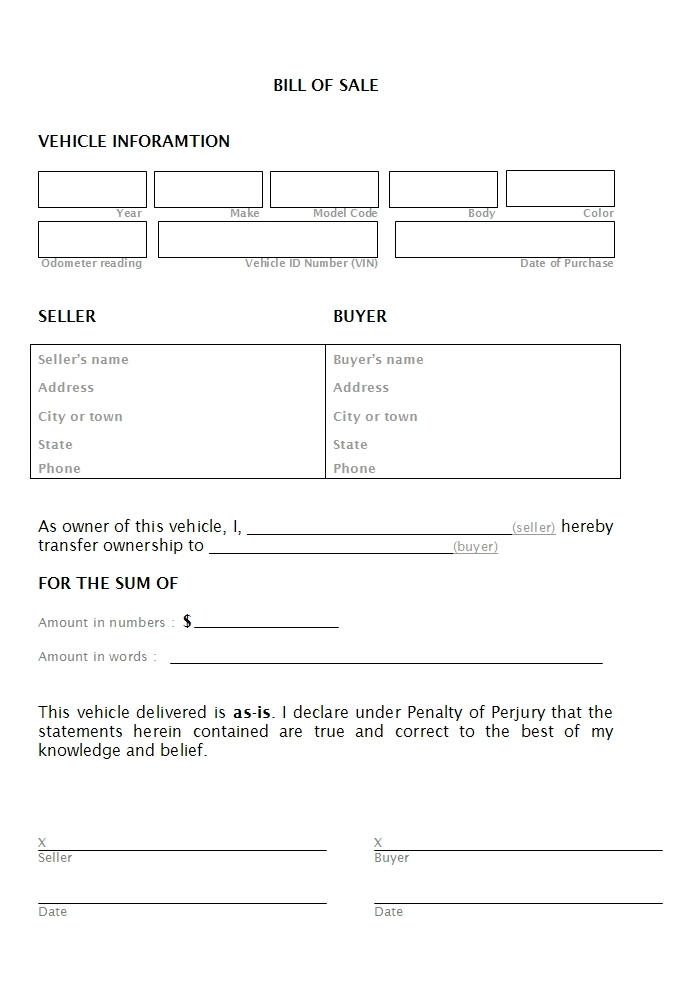 car bill of sale printable