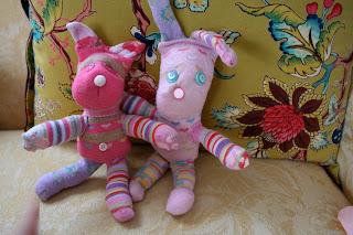 Pink And Green Mama Homemade Gift Sock Animals