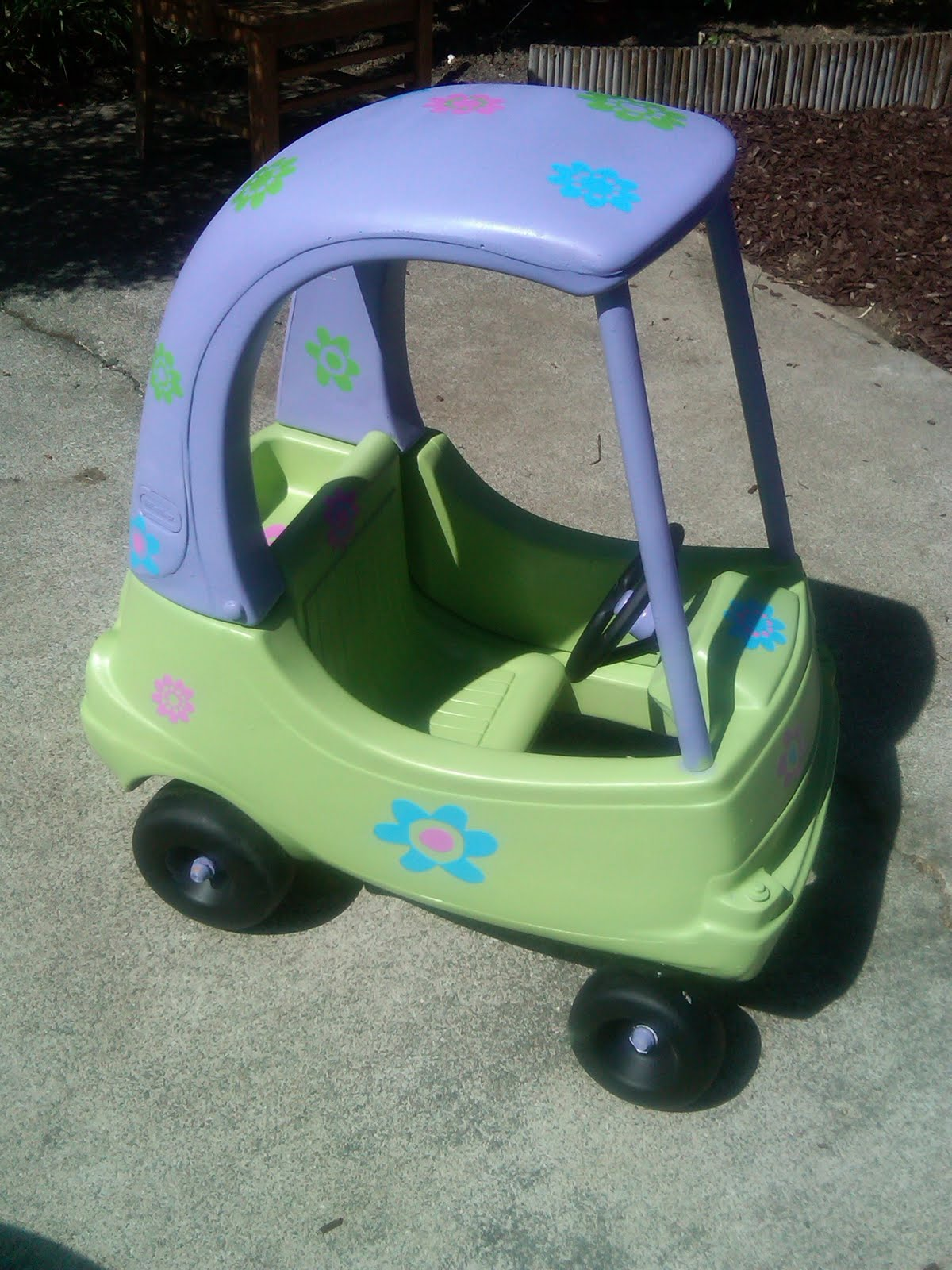 Pink and green mama cozy coupe makeover and fan mail - Little tikes cozy coupe pink ...