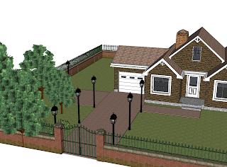 Gotowy projekt domu z ogrodem - Google SketchUp