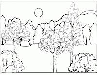 imagini de colorat cu copaci