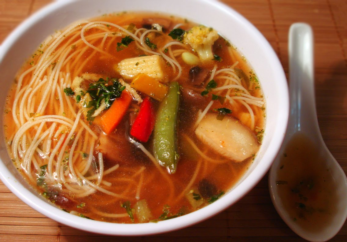 vegetarian yogini chinese hot sweet and sour soup with