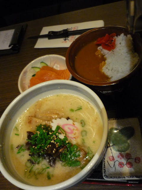 Japanese Sapporo Ramen, Curry Rice, Salmon Sashimi
