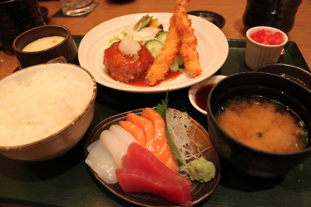 Japanese Ebi Fry, Hamburger Steak, Sashimi