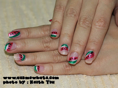 "Nail Art Tutorial: ""Sliced Watermelon"" Nails"