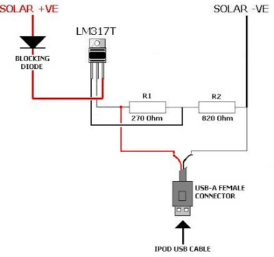 Solar iPod Charger Schematic