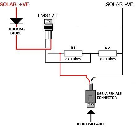 schematic diagram  solar ipod charger project and schematic