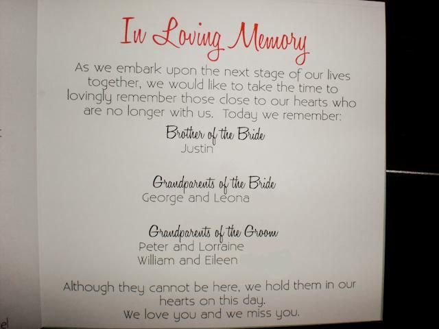 One Page Wedding Program Wording