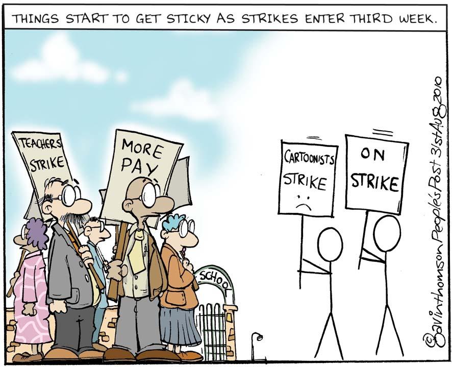 people's post cartoons: cartoonist strike