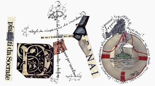 Collage e Caligrafia com restos de recortes...