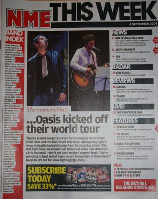 NME Contents page: I like the layout of the contents page.