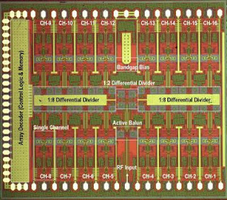 Caption: The UCSD DARPA Smart Q-Band 4x4 Array Transmitter, the world's most complex silicon phased-array chip was developed in the lab of UC-San Diego electrical engineering professor Gabriel Rebeiz. Credit: Gabriel Rebeiz / UC San Diego. Usage Restrictions: Mandatory credit: Gabriel Rebeiz, UC San Diego.