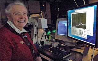 Professor Mildred Dresselhaus, in the spectroscopy lab at MIT