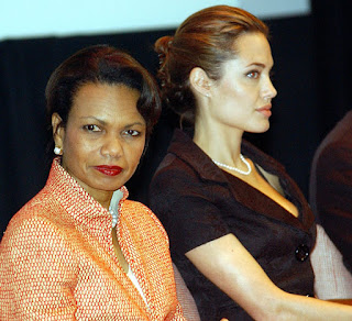 Secretary Rice with UN High Commissioner Angelina Jolie