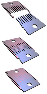 Researchers at the Harvard-MIT Division of Health Sciences and Technology (HST) have developed a device that allows them to control the distance between cells. The cells are placed on combs, which can be fully separated (top), slightly separated (middle) or locked together with combs in contact (bottom). Image courtesy / Elliot Hui