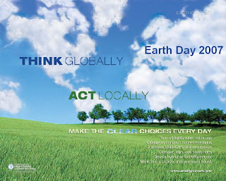 Earth Day Think Globally...Act Locally, Energy Efficiency and Renewable Energy (EERE)