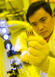 Dr. Jiwen Liu, a researcher in the Wake Forest University Center for Nanotechnology and Molecular Materials, tests a new solar cell in the center's laboratory in Winston-Salem, NC.