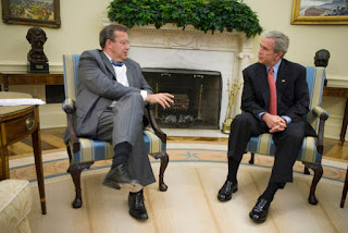 President George W. Bush meets with President Toomas Ilves of Estonia, during their meeting Monday, June 25, 2007, in the Oval Office. Calling him a 'President of a country which has emerged from some really dark days,' President Bush welcomed the leader to the White House saying, 'President Ilves is a very strong advocate for democracy and the marketplace...' White House photo by Eric Draper.
