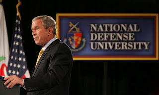 President George W. Bush addresses the National Defense University's Distinguished Lecture Program Tuesday, Oct. 23, 2007, in Washington, D.C. Said the President, 'All of you who wear the uniform are helping to protect this country, and the United States of America is grateful for your service.' White House photo by Chris Greenberg