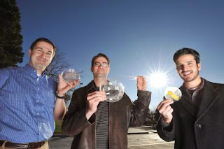 From left to right, Sandia researchers Murat Okandan, Greg Nielson, and Jose Luis Cruz-Campa
