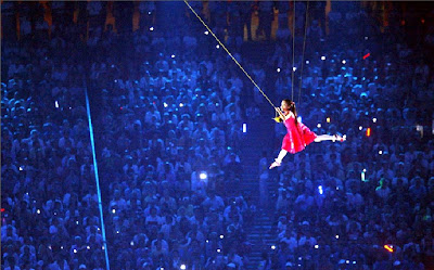 Olympics Opening Ceremonies Young Girl Flying