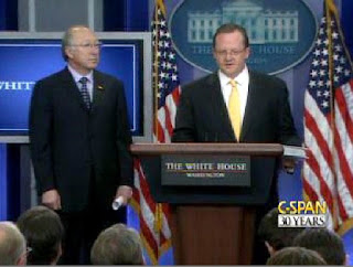 Press Secretary Robert Gibbs and Secretary of Interior Ken Salazar