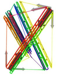 diagrammatic image of a tensegrity built with DNA struts