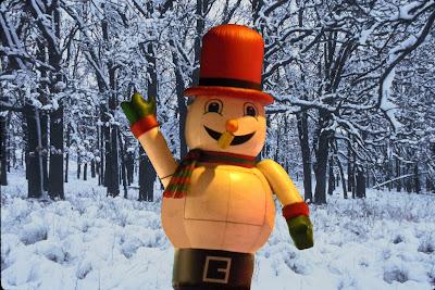 Snowman in snowy Forest