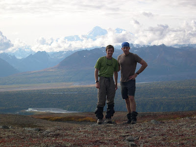 Kevin Shon & Sam, Denali State Park, Denali in background