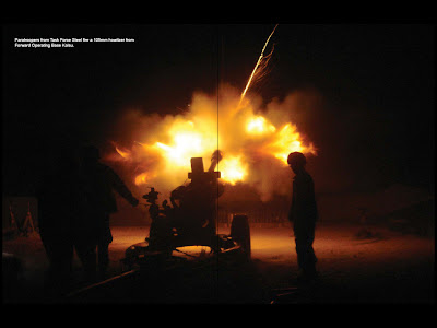 An Army 105mm Howitzer is fired from FOB Kalsu (not Matt's FOB) Click on image to enlarge