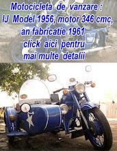Vand motocicleta  cu  atas, IJ Model 1956, motor 346 cmc, an fabricatie 1961