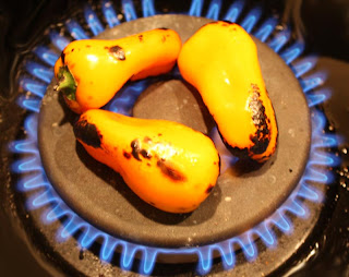 Roasting yellow peppers