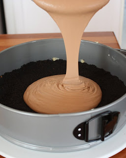 Pouring the batter into the pan