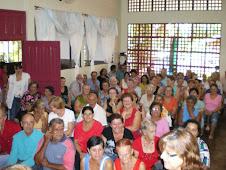 Culto de Páscoa no Centro de Convivência de Corbélia.