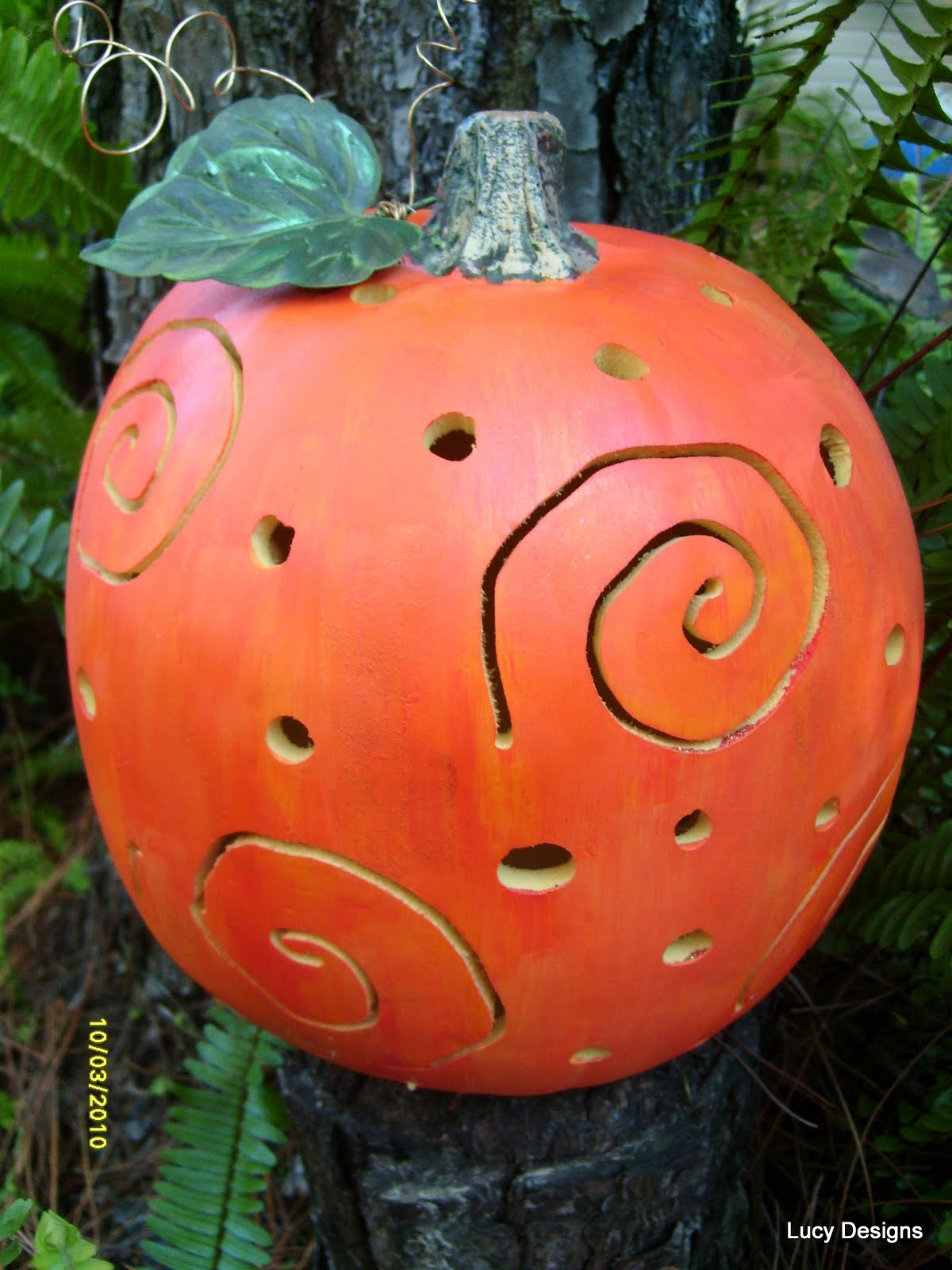 Foam pumpkin makeover using power tools and fun hand painted