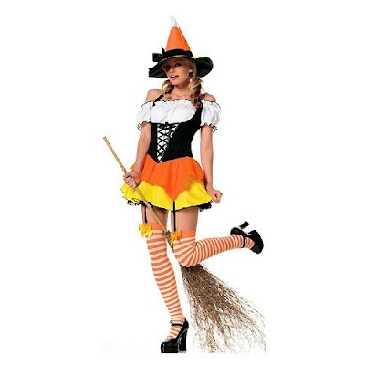 3 Piece Candy Corn Sexy Witch Halloween Costume Wallpapers
