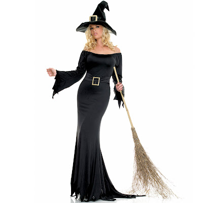 Sexy Witch long black Halloween Costume Wallpaper