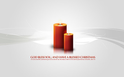 God Bless you Christmas candles Desktop Background