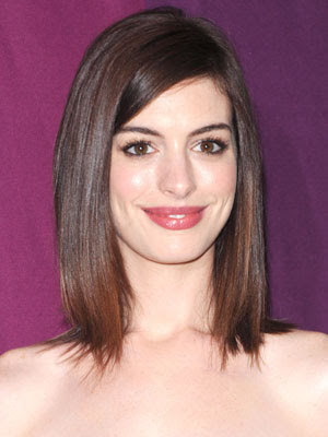 Anne Hathaway Medium To Long Bob Hairstyle