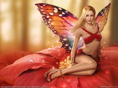 Sexy Elf Butterfly Girl Wallpaper