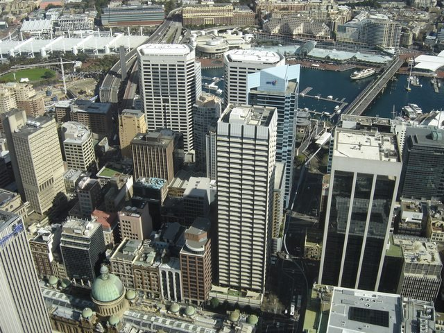 Panorama de Sydney Tower vers Darling Harbour