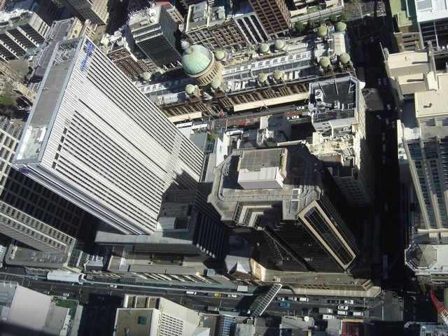 Panorama de Sydney Tower - Vue plongeante sur Pitt Street